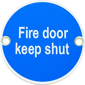 FD112 Fire Door Keep Shut Sign Satin Anodised Aluminium 75mm