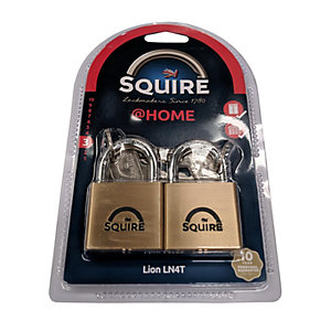 Squire LN4 Lion Brass Padlock 40mm Twin Pack