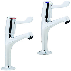 Wickes Modena Pillar Kitchen Sink Taps Chrome
