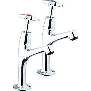 Wickes Trade Kitchen Sink Pillar Taps Chrome