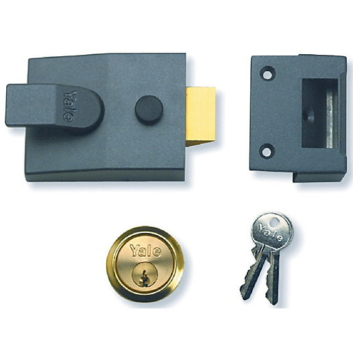 Nightlatch Dmg/Polished Brass Cylinder Yale P89