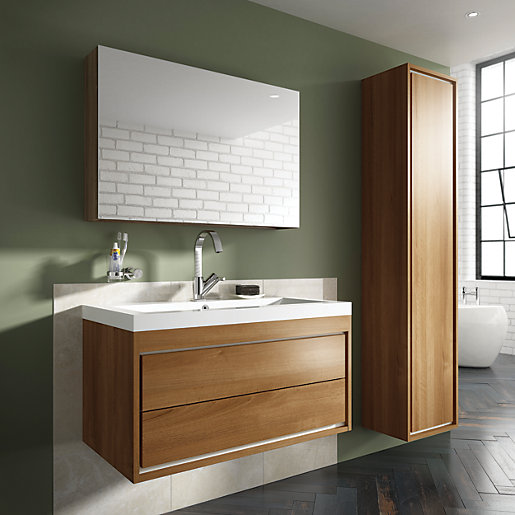 bathroom cabinets wickes wickes novellara mirror wall unit with storage walnut 11403