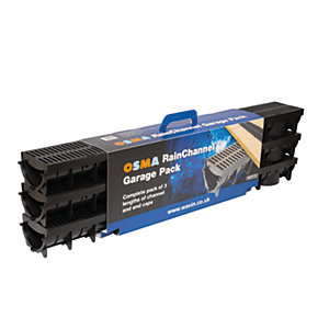 Osma Rainchannel Drainage Channel Garage Pack Black 3m x 1000m