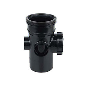 OsmaSoil 4S274B 110mm Ring-Seal Bossed Access Pipe Black