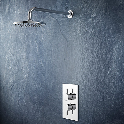Iflo Langtree Wall Fixed Round Drench Head Thermostatic Shower With Coordinating Shower Valve
