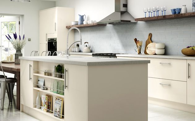 Glencoe cream gloss kitchen for Wickes kitchen cabinets