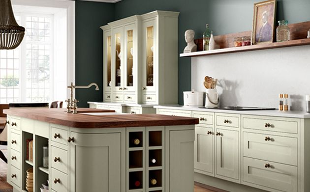 Heritage sage green kitchen for Wickes kitchen cupboards
