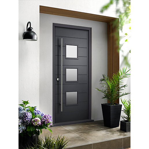 Malmo Ultimate External Grey Front Door With Outer Frame Travis