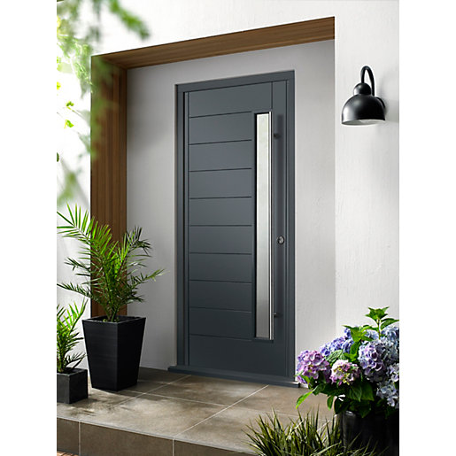 Kitchen Outside Doors: Stockholm Ultimate External Grey Front Door With Outer Frame
