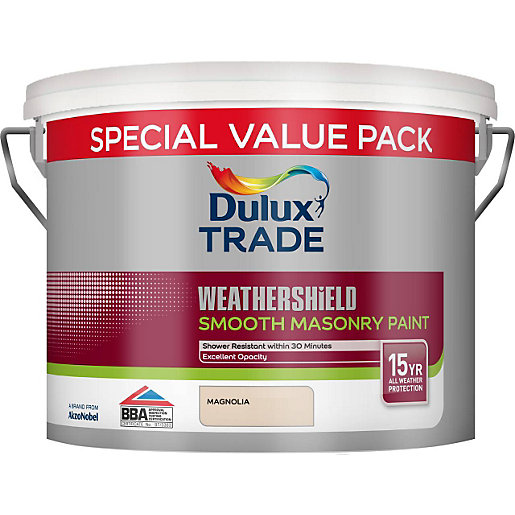 Dulux Smooth Masonry Paint Magnolia 7 5l Travis Perkins