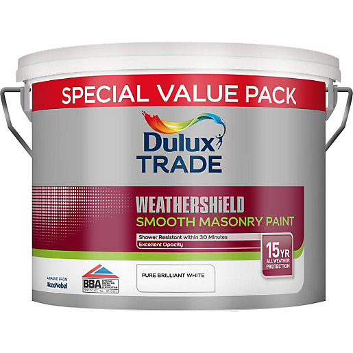Dulux Smooth Masonry Paint Pure Brilliant White 7 5l Travis Perkins