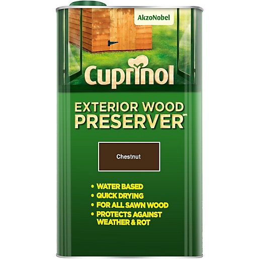 cuprinol quick drying exterior wood preserver chestnut bp 5l travis perkins