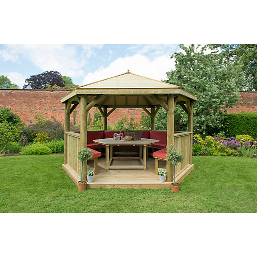 4m Hexagonal Wooden Garden Gazebo with Timber Roof - Furnished (Terracotta)