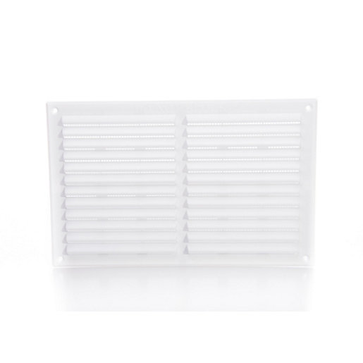 Rytons '9 x 6' Louvre Ventilator with Flyscreen - White - Box of 25