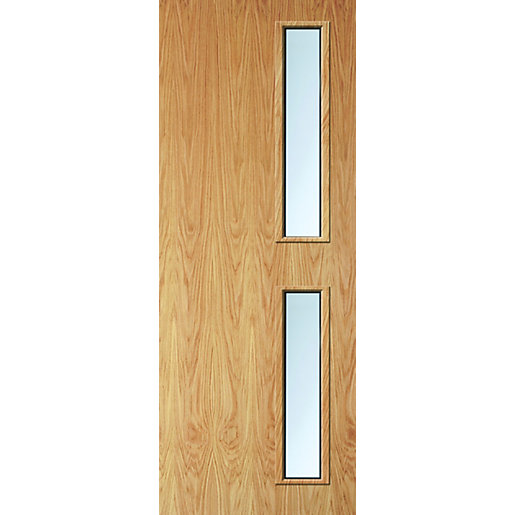 Internal Flush Oak Veneer Fd30 Fire Door 16g Clear Glazed 2040mm X