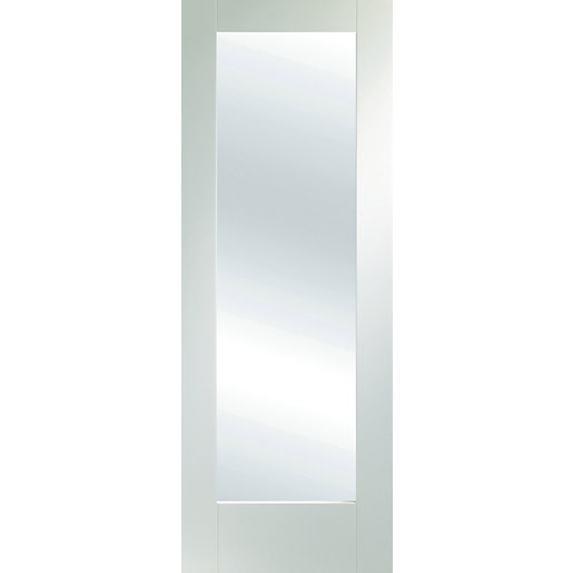 White primed pattern 10 shaker 1 light with obsure glass for 10 panel glass interior door