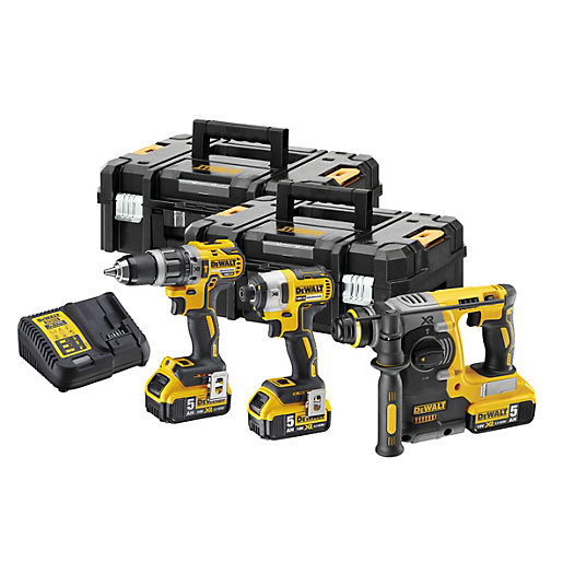 DeWalt 18V Xr Brushless Combi Drill, Impact Driver and SDS+ Triple Pack  DCK368P3T-GB