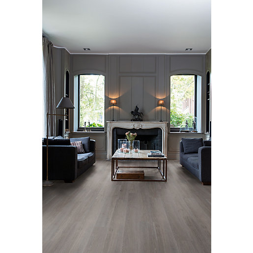 Luxury Vinyl Wood Effect Quick Step Silk Oak Dark Grey Flooring
