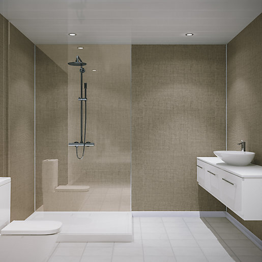 Multipanel Unlipped Shower Panel Taupe Brocade 275 2400mm