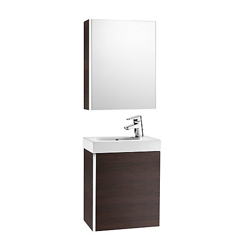 Roca mini vanity pack with mirror cabinet wenge 855866154 for Wenge bathroom mirror