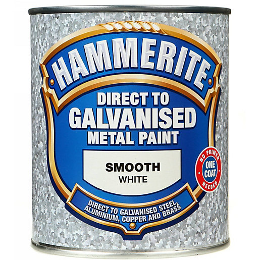 hammerite direct to galvanised metal paint white 750ml. Black Bedroom Furniture Sets. Home Design Ideas