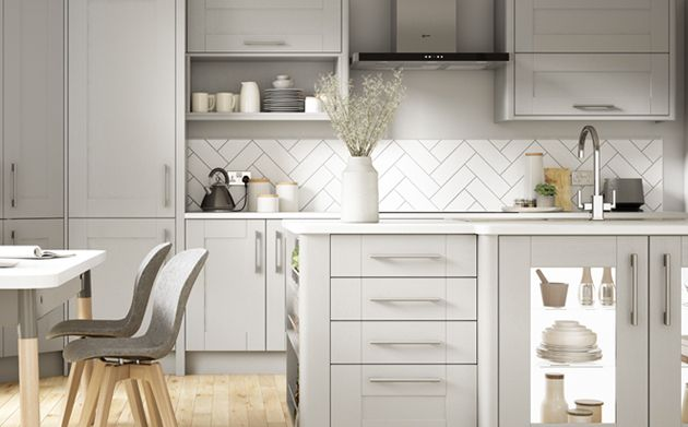 Milton Grey Kitchen Wickescouk - Pale grey kitchen cabinets