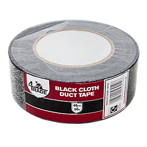 4Trade Black Duct Cloth Tape 48mm x 50m