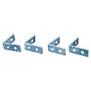 4Trade Corner Braces Zinc Plated 75mm Pack of 4