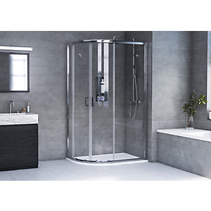 Aqualux 6mm Offset Quadrant Shower Enclosure Lh 1935mm With 35mm Tray
