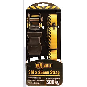 Van Vault Ratchet Tie Down Strap Black 3m x 25mm