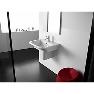 Roca the Gap 1 Taphole 35cm Basin and Semi-pedestal