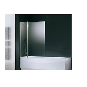 Novellini Aurora 3 Fixed and Hinged Bath Screen Clear Glass Chrome 980mm AURORAN3-1K