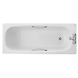 Steel Bath 2 Tap Holes 1700mm Anti slip Including Legs & Grips