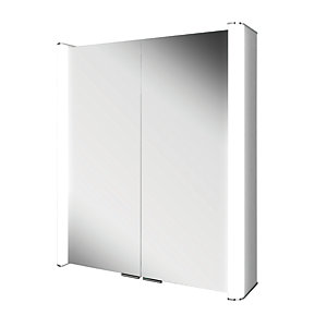 HiB Vita 60 Bathroom Mirror Cabinet Aluminium 700mm x 600mm 45500