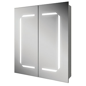 HiB Zephyr 60 Bathroom Mirror Cabinet Aluminium 700mm x 600mm 45700