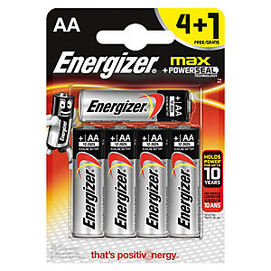 Energizer Max AA E91 BP8 Battery 4+1 Pack