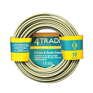 4Trade 3 Core & Earth Cable 6243Y Grey 10m