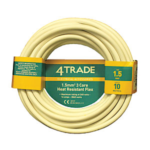 4Trade 3 Core Heat Resistant Flexible Cable 3093Y White 10m