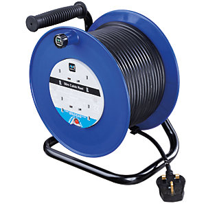 Masterplug 50 Metre 4 Socket Open Reel with Thermal Cutout 13A