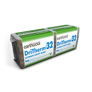 Knauf Earthwool DriTherm Cavity Slab 32 Ultimate 75mm x 1200mm x 455mm (3.28m²/pack)