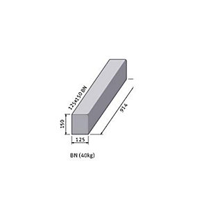 BS Concrete Kerb Bull Nosed 125mm x 150mm x 915mm