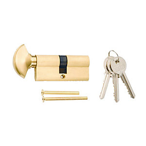 4Trade 6 Pin Euro Cylinder Thumbturn Lock 35/35mm Brass
