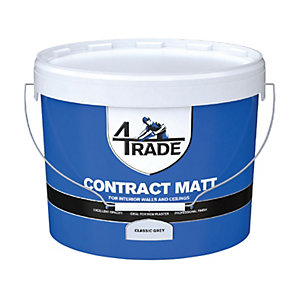 4Trade Contract Matt Emulsion Paint Classic Grey - 10L