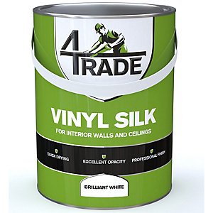 4Trade Durable Vinyl Silk Emulsion Paint Brilliant White - 5L