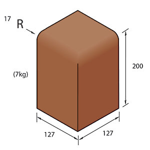 Marshalls Keykerb Bullnosed Angle External Red Concrete Kerb Large