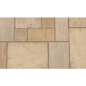 Marshalls Indian Sandstone Paving 5 Size Project Pack Brown Multi 15.23m²