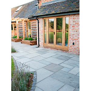 Marshalls Indian Sandstone Paving 5 Size Project Pack Grey Multi 15.23m²