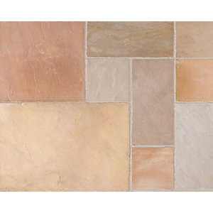 Marshalls Riven Fairstone Natural Golden Sand Multi Paving Slab 275mm x 275mm x 22mm