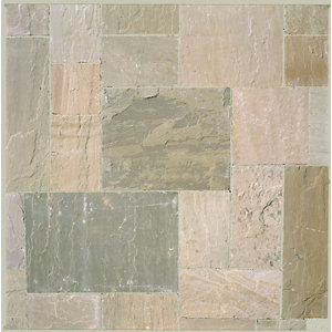 Marshalls Riven Fairstone Natural Sandstone Autumn Bronze Multi Paving Slab 560mm x 560mm x 22mm