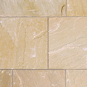Marshalls Riven Fairstone Natural Sandstone Golden Sand Multi Paving Slab  560mm X 275mm X 22mm